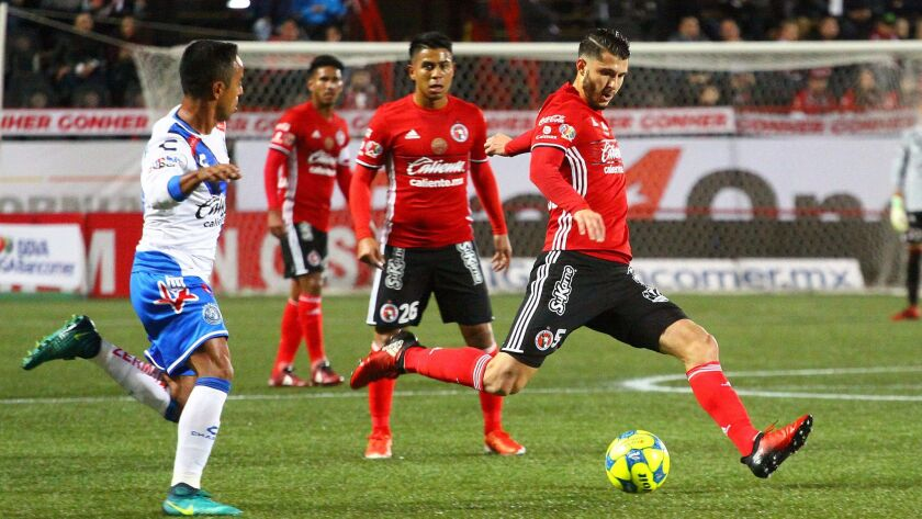 The Tijuana Xolos, pictured during a game last month, tied the Los Angeles Galaxy 1-1 in an exhibition at the StubHub Center in Carson on Tuesday.