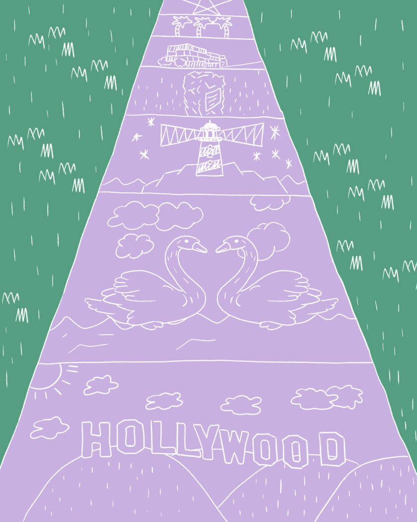 A chalked sidewalk illustrating a few of the sights you can see on your L.A. stroll.
