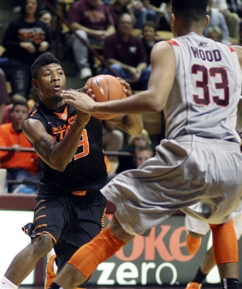 Oklahoma State guard Marcus Smart (33) looks for a route around Virginia Tech forward Marshall Wood (33) during the second half of an NCAA college basketball game in Blacksburg, Va., Saturday, Dec. 1, 2012. (AP Photo/Daniel Lin)