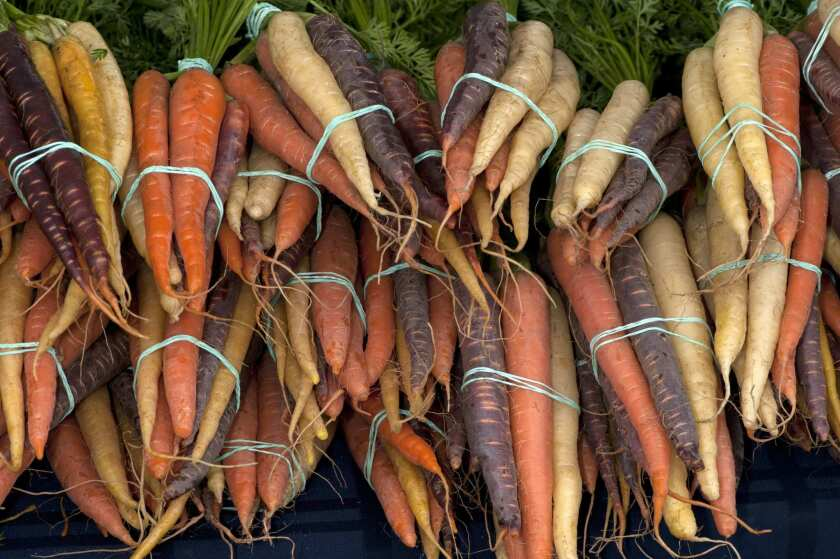 An assortment of carrots grown in the Imperial Valley at the Brentwood Farmers Market in 2012.