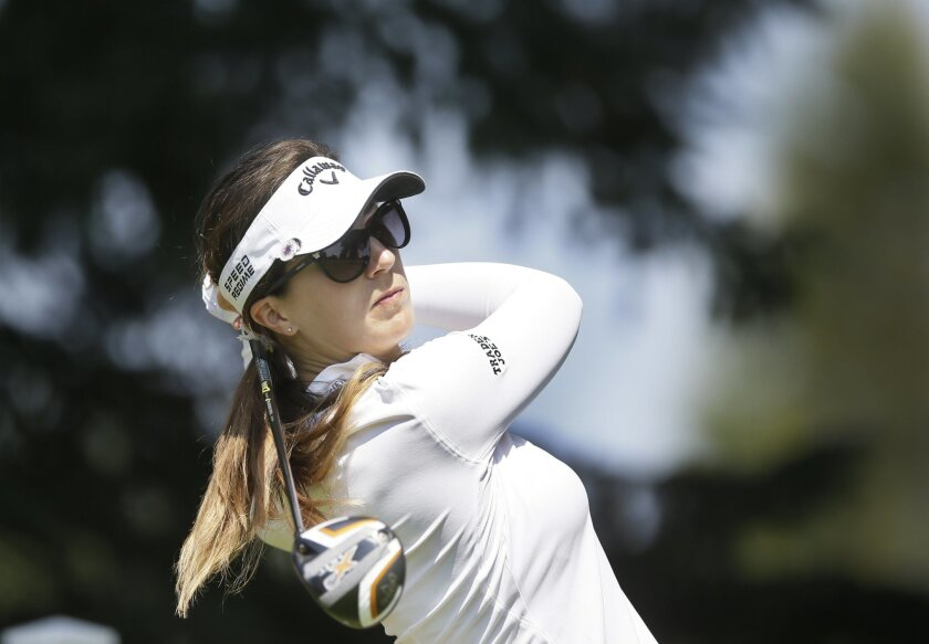 Sandra Gal of Germany drives on the ninth hole during the first round of the Meijer LPGA Classic golf tournament at Blythefield Country Club, Thursday, Aug. 7, 2014 in Belmont, Mich. (AP Photo/Carlos Osorio)