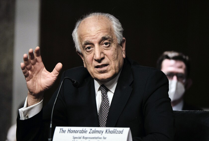 FILE - In this April 27, 2021 file photo, Zalmay Khalilzad, special envoy for Afghanistan Reconciliation, testifies before the Senate Foreign Relations Committee on Capitol Hill in Washington. (T.J. Kirkpatrick/The New York Times via AP, Pool)