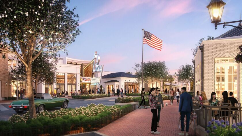 A rendering of the $200-million redevelopment of the Pacific Palisades town center called Palisades Village.