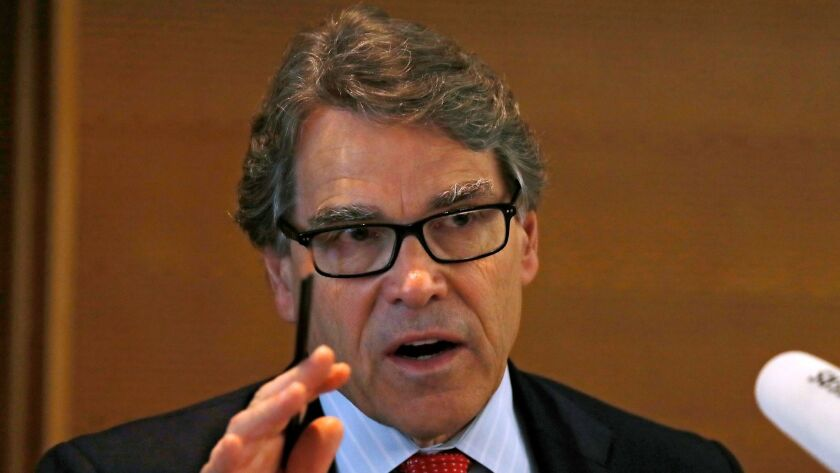U.S. Energy Secretary Rick Perry speaks during the carbon capture, utilization and storage event, on