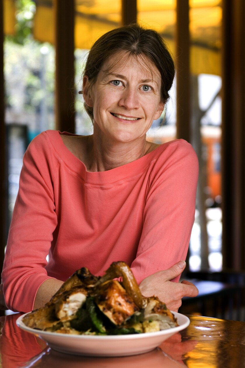 Judy Rodgers with her Zuni Cafe roast chicken.
