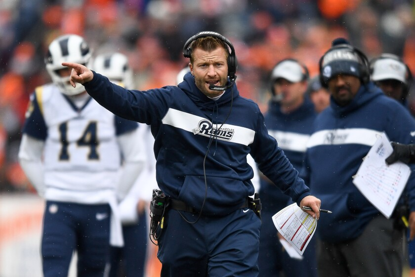 Rams coach Sean McVay has his team at 6-0 after the victory in Denver.