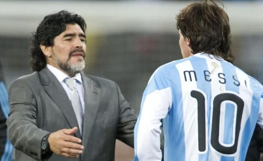 Diego Armando Maradona y Lionel Messi coincidieron en el seleccionado argentino.