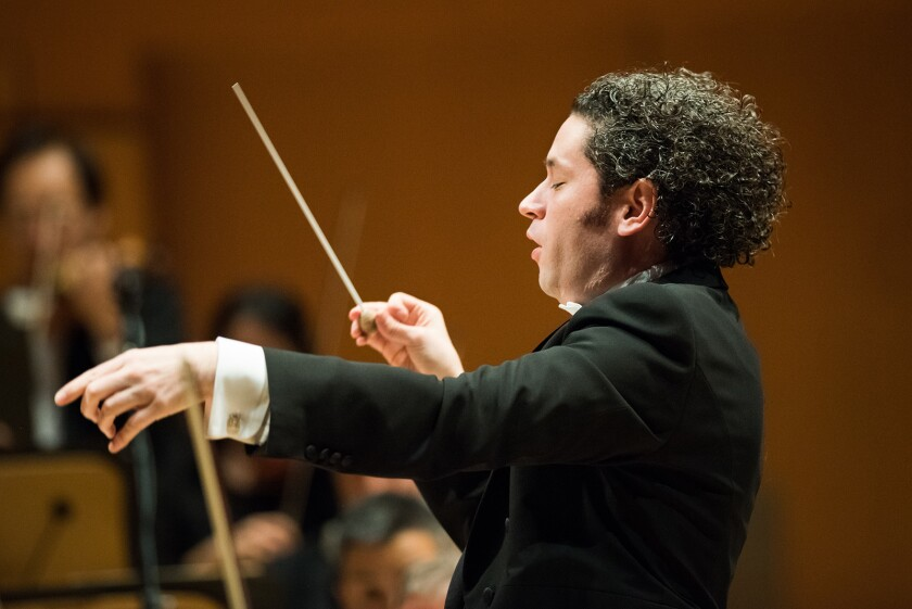 LOS ANGELES, CA - JANUARY 26, 2017: Gustavo Dudamel returns on his 36th birthday and conducts the Lo