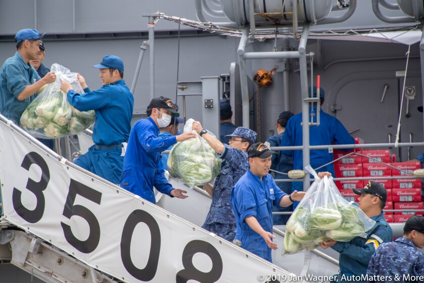 01796-20190613 Japan Training Squadron Overseas Cruise 2019-Port of San Diego-provisioning-JS Inazuma-DD105 destroyer & JS Kashima-TV3508 training vessel-D5