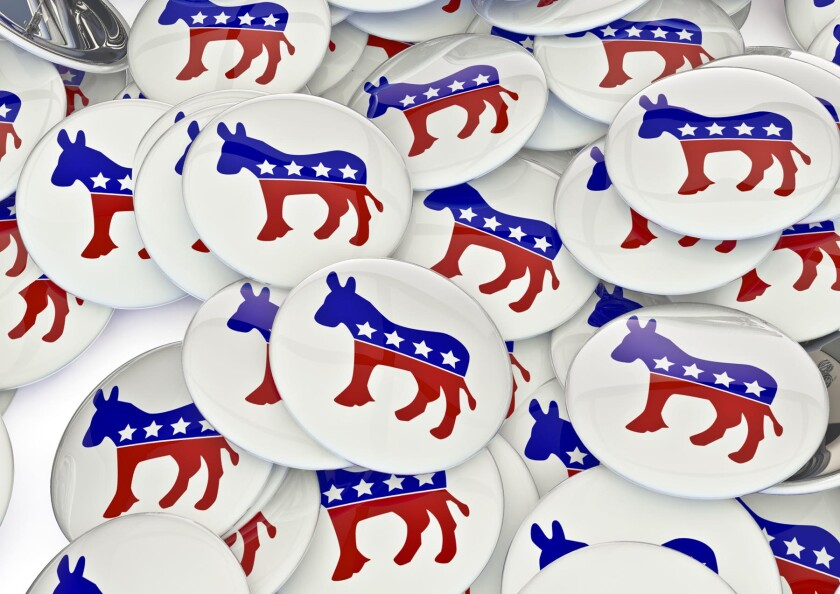 buttons with donkey to represent democratic party