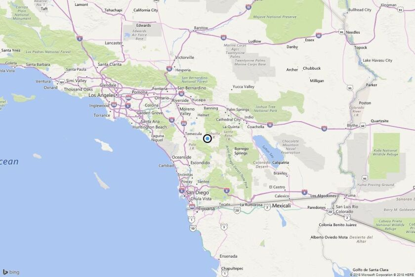 A map showing the location of the epicenter of Thursday's quake near Aguanga, Calif.
