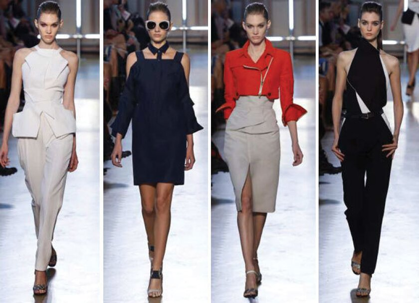 Looks from the Roland Mouret spring-summer 2013 collection shown during Paris Fashion Week.