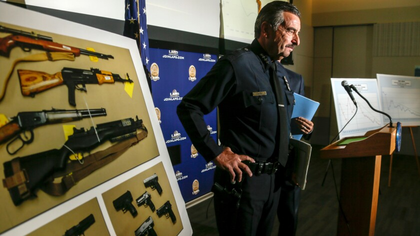 LAPD Chief Charlie Beck at the end of a news conference held Friday to discuss crime in L.A. through the first half of 2016.