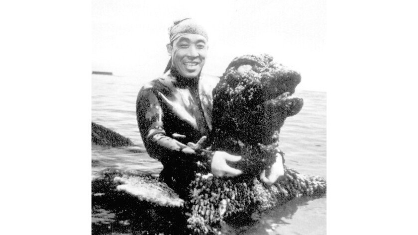"""Haruo Nakajima during filming of the movie """"Godzilla vs. the Sea Monster"""" (1966)."""