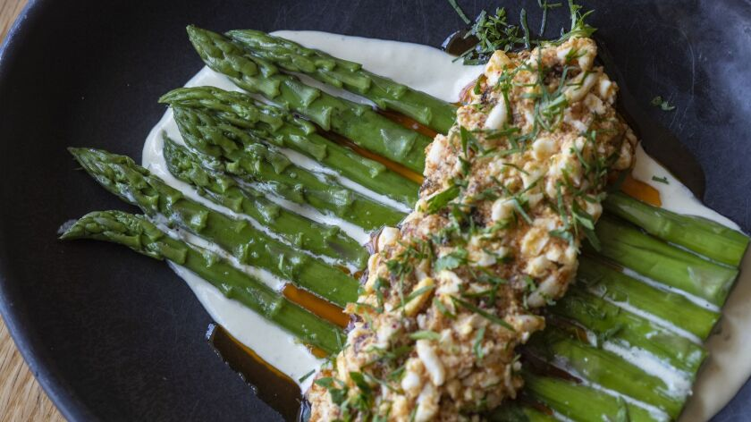 LOS ANGELES, CALIF. -- WEDNESDAY, APRIL 3, 2019: Asparagus with green garlic aioli and egg salad f