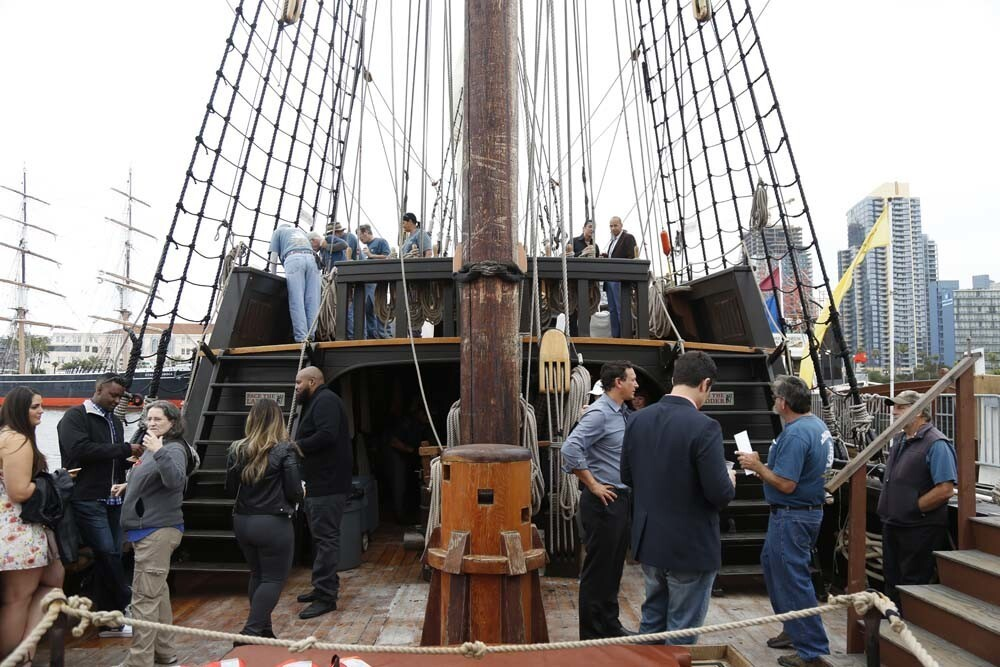 40 people were invited to sail aboard the San Salvador as it embarked on a once-in-a-lifetime odyssey through San Diego Harbor, while enjoying food and drinks from Coasterra, live music and revelry on Thursday, June 21, 2018.