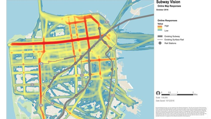 Suggestions by San Franciscans on where future subways should be constructed.
