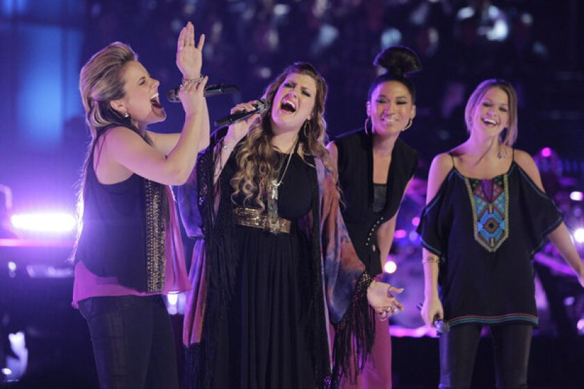 """Team Adam's Amber Carrington, from left, Sarah Simmons, Judith Hill and Caroline Glaser on """"The Voice"""""""