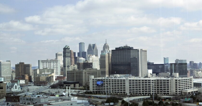 FILE- This April 9, 2008 file photo shows the city of Detroit. An attorney for Detroit is set to resume his opening statement, Wednesday, Sept. 3, 2014, at the city's historic bankruptcy trial, after telling the judge on the first day that the city's plan to restructure billions of dollars in debt is needed to free up funds to provide services to residents and allow it to survive. (AP Photo/Carlos Osorio, file)