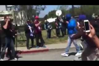 Protesters break through barricade outside California GOP convention