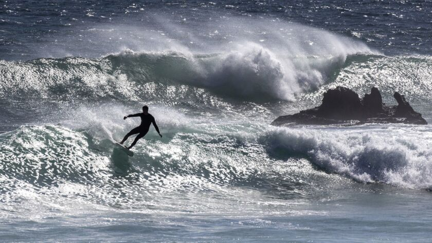 MALIBU, CALIF. -- MONDAY, OCTOBER 1, 2018: Surfers take advantage of 5 to 7-foot waves at Leo Carril