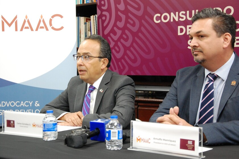 Consul General, Carlos González Gutierrez with MAAC CEO Arnulfo Manríquez on a press conference in December 2019.