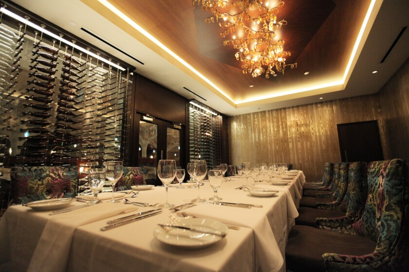 The private dining room at Viejas' Grove Steakhouse puts wine center stage.