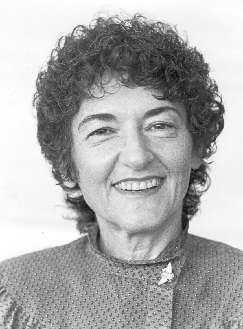 """Jacqueline Briskin, shown in 1982, was a Bel-Air homemaker who began writing in her mid-30s. Her first novel, """"California Generation,"""" landed on bestseller lists, as did subsequent books. Briskin died Dec. 24. She was 87."""