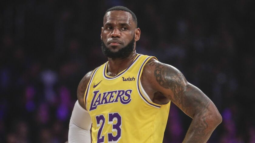 LOS ANGELES, CA, THURSDAY FEBRUARY 21, 2019 - Lakers forward LeBron James during a break in the acti