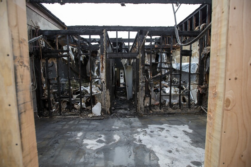 A burned out unit in an industrial building in Costa Mesa was one of several that caught fire on Tuesday.