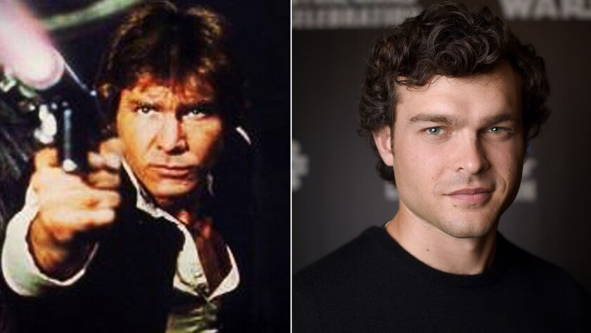 """Harrison Ford as Han Solo in 1977's """"Star Wars,"""" left, and Alden Ehrenreich at the Star Wars Celebration in London on Sunday."""