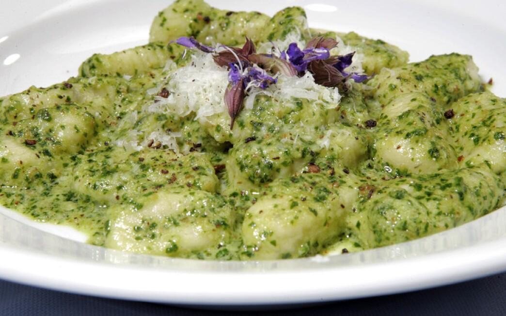 Sage gnocchi with parsley-walnut pesto