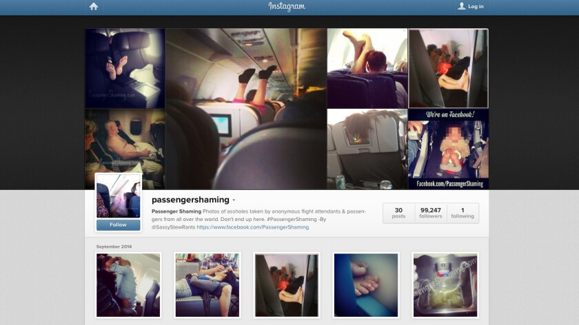 Rude passenger behavior is captured on photos posted on Facebook and Instagram.