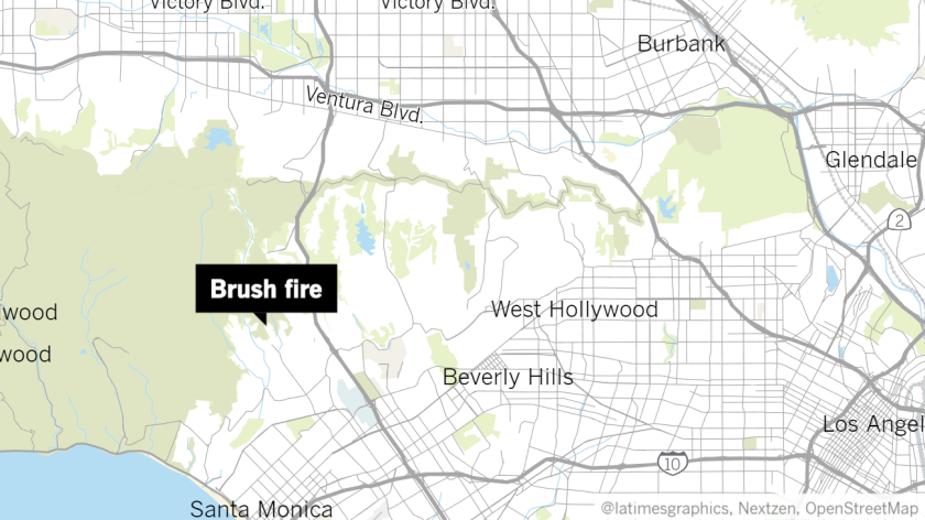 A brush fire started Tuesday afternoon near Kenter Avenue in Brentwood.