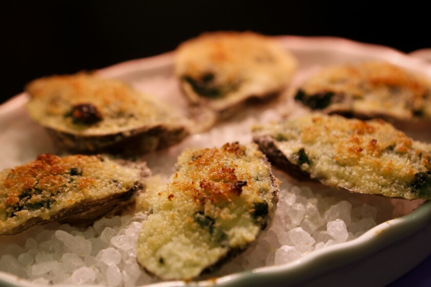 Oysters Rockefeller prepared by Chef Michael Cimarusti (CQ) from Providence and Connie and Ted's restaurants cooks three recipes, Deviled Oysters, Oysters Rockefeller and Baked Clams. Recipe: Oysters Rockefeller