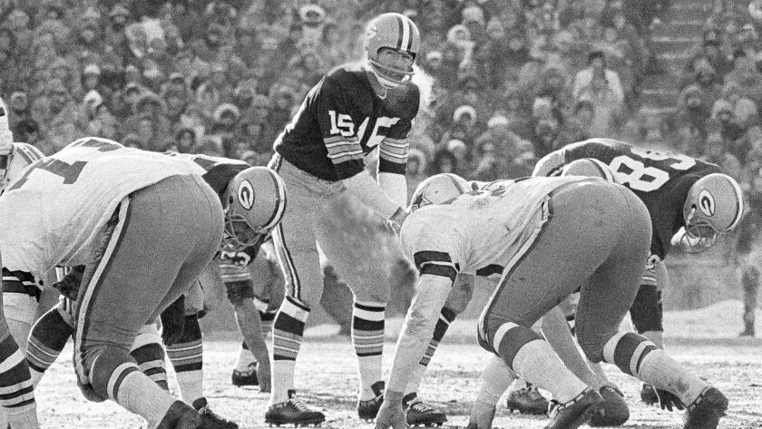 FILE - In this Dec. 31, 1967, file photo, Green Bay Packers quarterback Bart Starr calls signals in