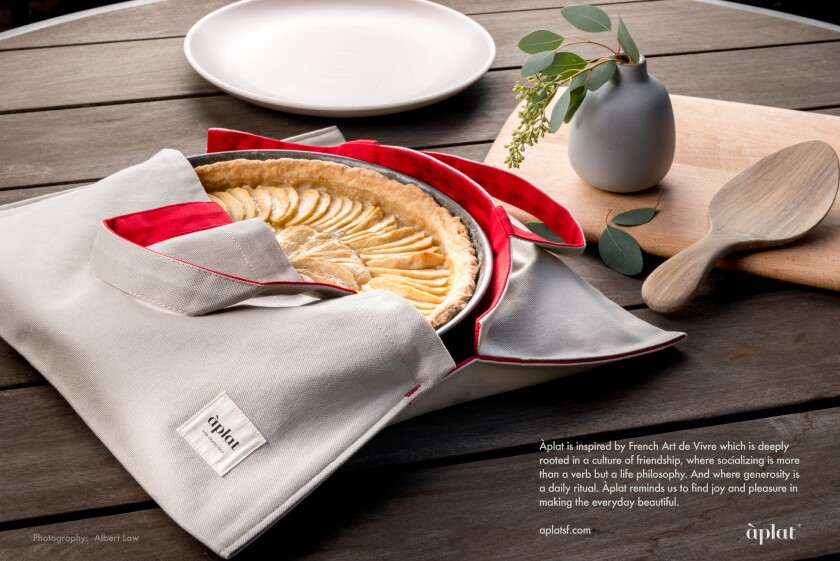 Cloth pie carrier from Aplat in San Francisco works for bowls and plates, too. Carry your dish to a dinner party in style.