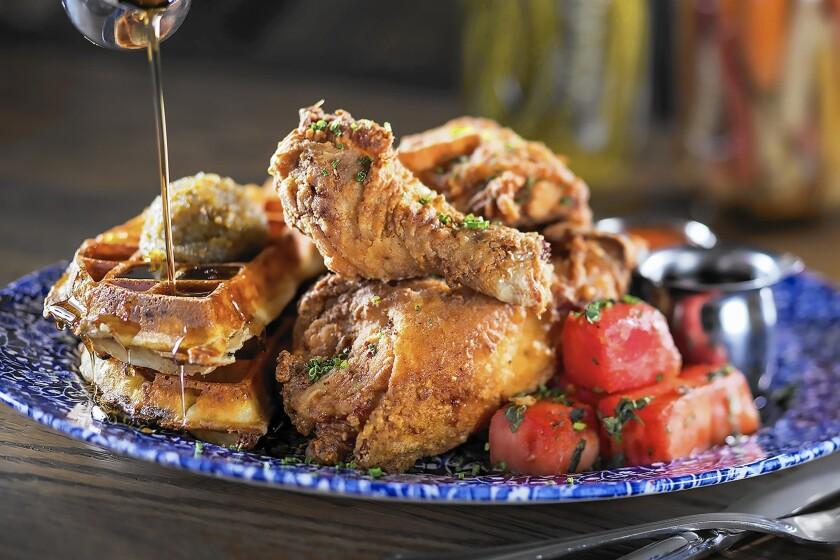 Chicken 'n' Watermelon 'n' Waffles at Yardbird Southern Table & Bar at the Venetian.