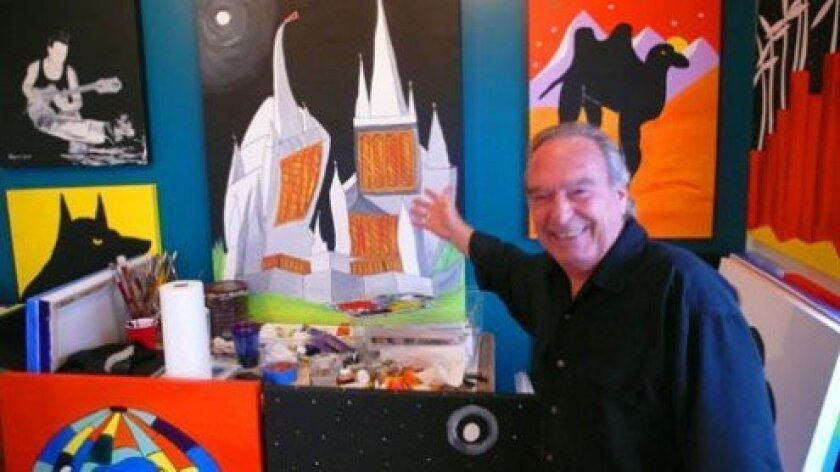 Gabriel Rayes with his vision of the Mormon Temple in La Jolla,