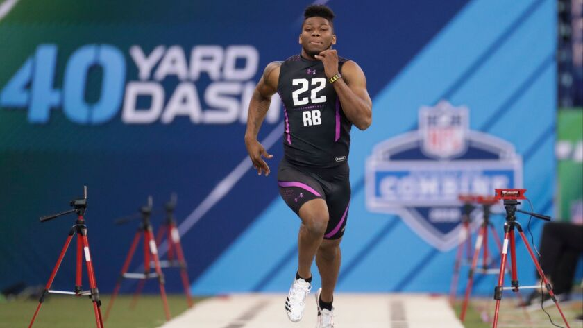 San Diego State running back Rashaad Penny runs the 40-yard dash in 4.46 seconds Friday at the NFL Combine in Indianapolis.