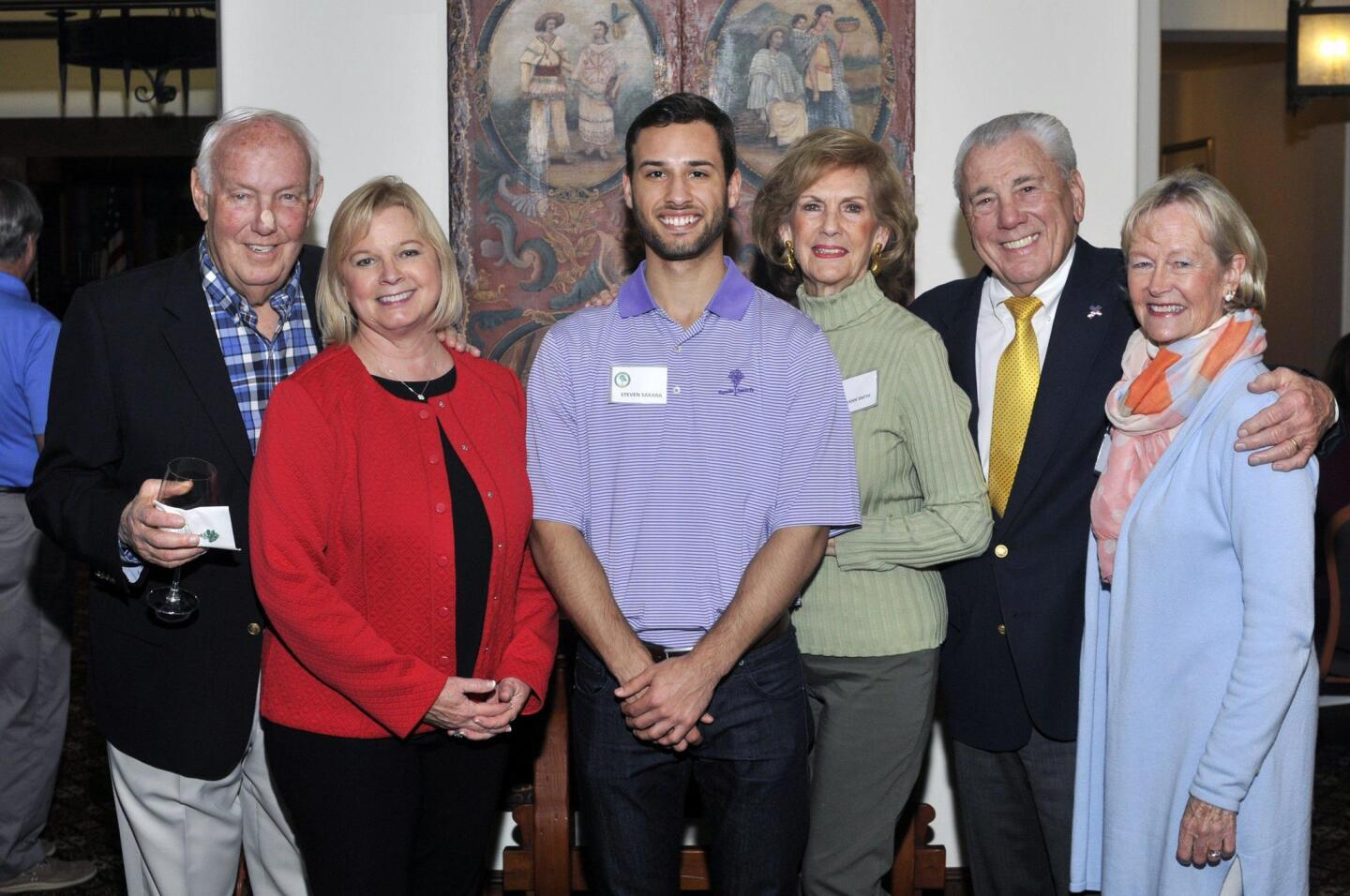 Coach John and Beverly Robinson, first scholarship graduate Steven Sakara, Mary Ann and founding board member Vearl Smith, Susie Alt