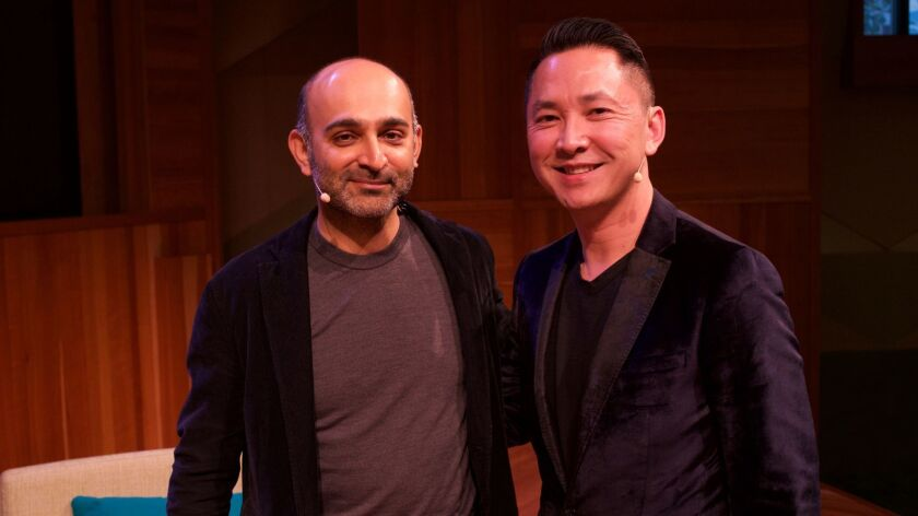 Mohsin Hamid, left, and Viet Thanh Nguyen at ALOUD at the Los Angeles Public Library.
