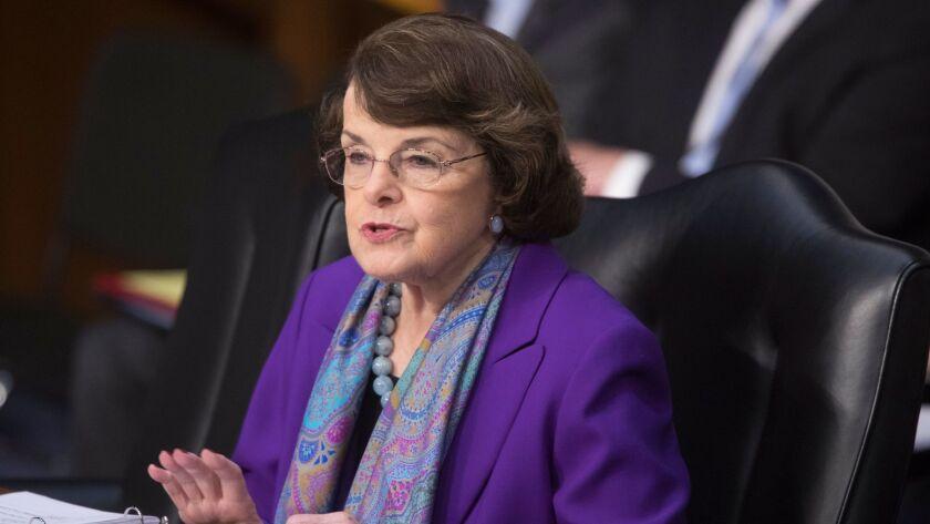 epa05957875 Democratic Senator from California Dianne Feinstein attends the Senate Select Committee