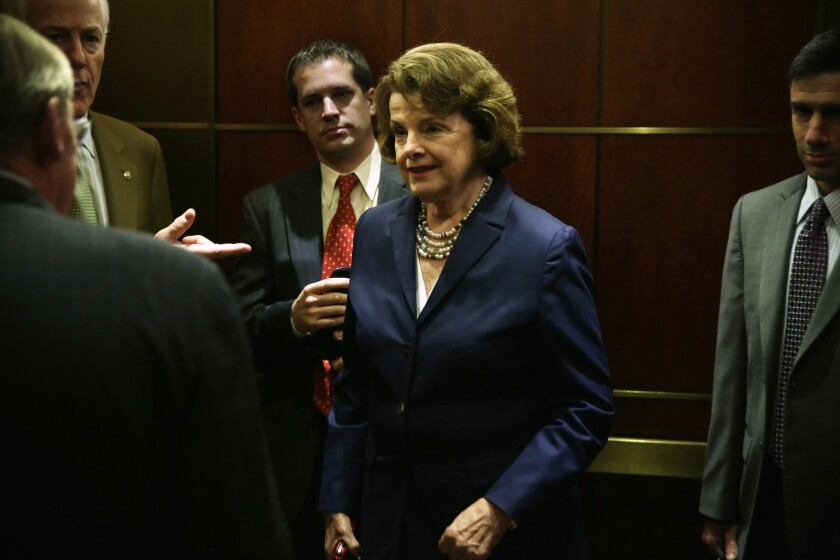 Sen. Dianne Feinstein (D-Calif.) and other senators arrive for a closed-door briefing on the Obama administration's prisoner swap that resulted in the return of Army Sgt. Bowe Bergdahl.