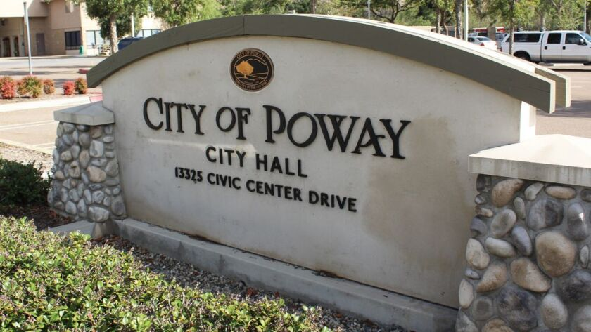 Sign for Poway City Hall