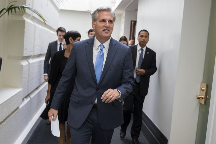 House Majority Leader Kevin McCarthy of California leaves a meeting on Capitol Hill.