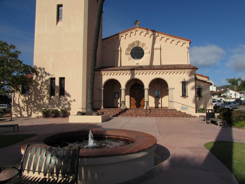 The historic fountain on the patio in front of the church was converted to a low bubbling water feature.