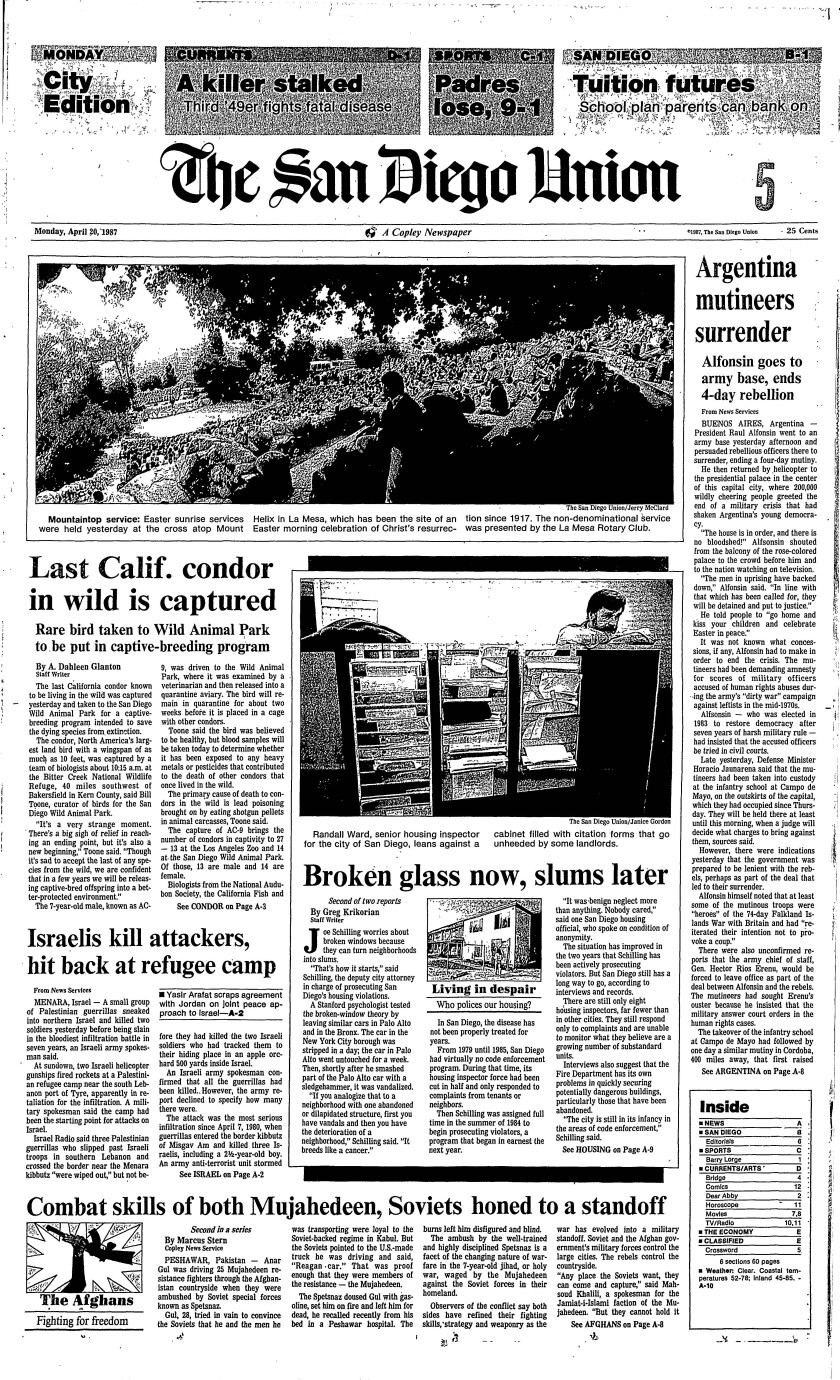 Front page of The San Diego Union, April 5, 1987.