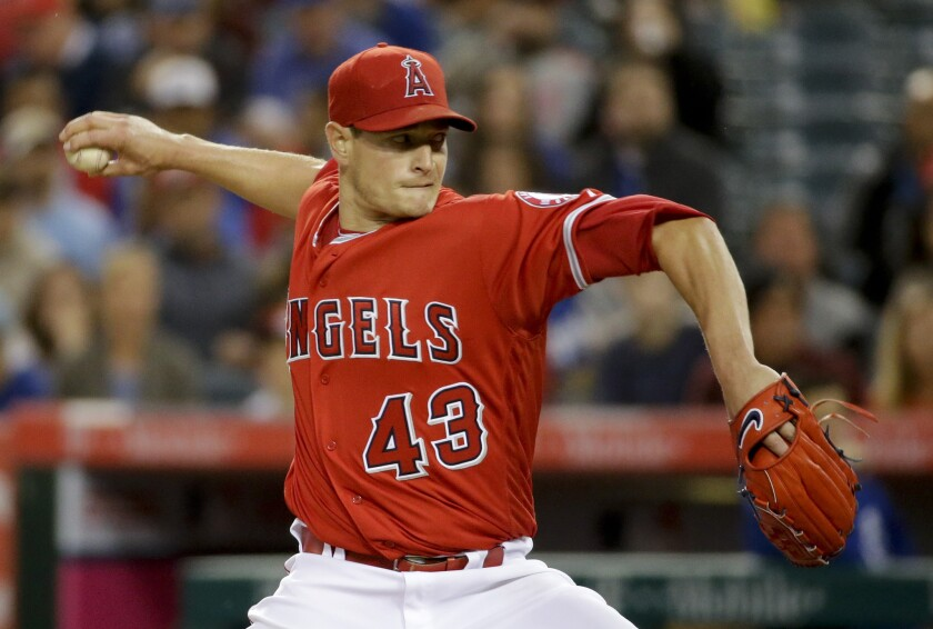 Garrett Richards pitches for the Angels against Kansas City on April 25.
