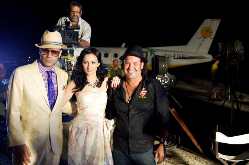 Despite the embargo, Cuban and American artists have long found ways to work together. New York-based music producer Andres Levin (left) and Latin fusion chanteuse Cucu Diamantes (center) recently teamed up with Cuban director Jorge Perugorria on a film.